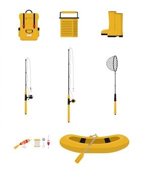 Conjunto de itens de pesca