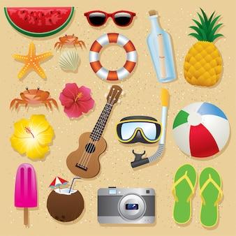 Conjunto de itens de praia de verão
