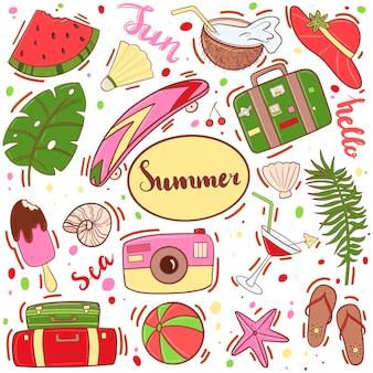 Conjunto de itens de verão, acessórios
