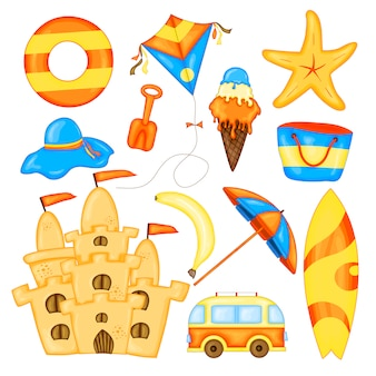 Conjunto de itens de verão para férias. coleção de desenhos animados de verão em vetor.