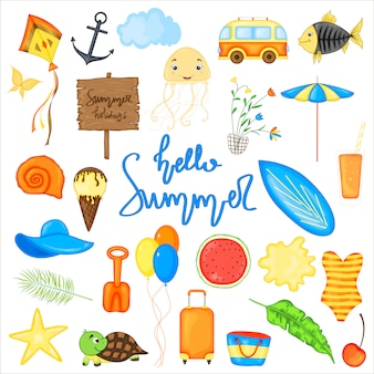 Conjunto de itens de verão para férias