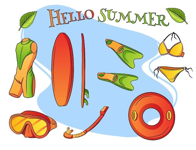 Conjunto de itens de verão.