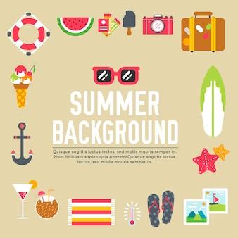 Conjunto de itens de vetor de ícones lisos de verão