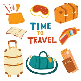 Conjunto de itens de viagem. fundamentos da viagem de avião: mala, bolsa de viagem, máscara de dormir, passaporte, livro, carteira, bolsa de cosméticos. preparando-se para a viagem. férias de verão. ilustração de desenho vetorial