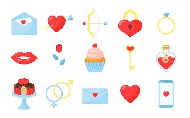 Conjunto de itens do dia dos namorados isolado no branco, ilustração em estilo simples
