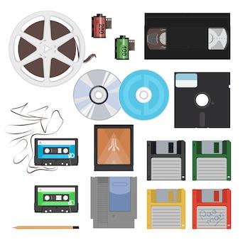 Conjunto de itens dos anos 80.