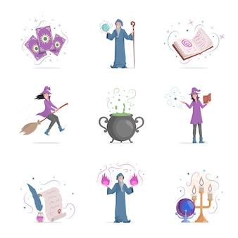 Conjunto de itens mágicos com ilustração plana isolada no branco