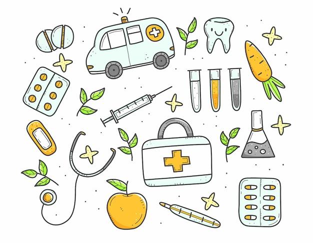 Conjunto de itens médicos multicoloridos em estilo doodle