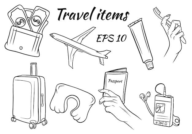 Conjunto de itens para viagens.