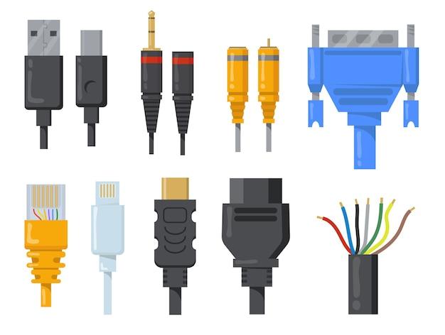 Conjunto de itens planos de cabos, fios e cabos de computador. desenhos animados conectores pretos e coloridos para coleção de ilustração vetorial de porta hdmi ou vga isolada. conceito de rede e comunicação