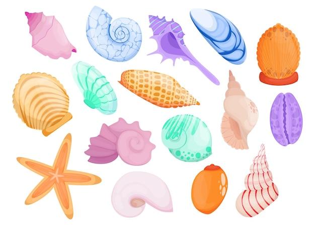 Conjunto de itens planos de concha desenhada à mão multicolorida