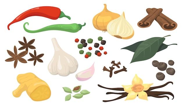 Conjunto de itens planos de especiarias e vegetais coloridos