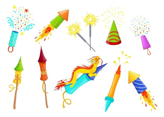 Conjunto de itens planos de fogos de artifício coloridos