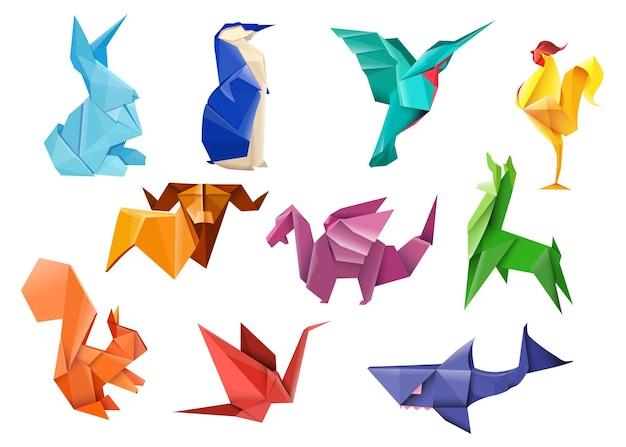 Conjunto de itens planos de origami japonês criativo