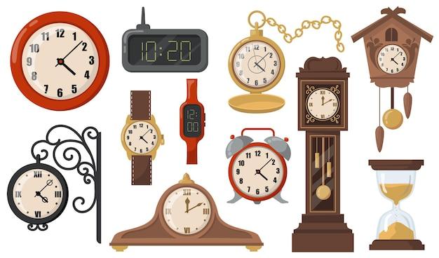 Conjunto de itens planos de relógios mecânicos e eletrônicos modernos ou retrô