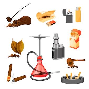 Conjunto de itens relacionados ao tema de fumar. tabaco e cachimbos, charutos, narguilé e vape, isqueiros e maço de cigarros