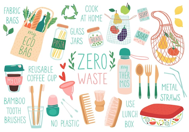 Conjunto de itens reutilizáveis zero waste de sacos ecológicos, escovas, copos, jurs, doodle, illustration