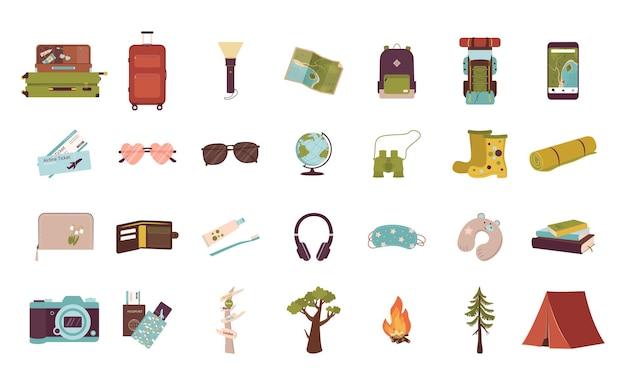 Conjunto de itens turísticos para férias.