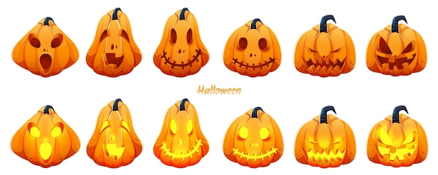Conjunto de jack-o-lantern assustador em fundo branco para a celebração do halloween.