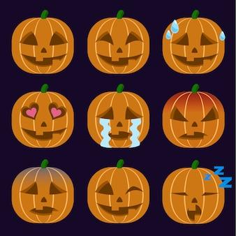 Conjunto de jack-o-lantern emoticon adesivo isolado