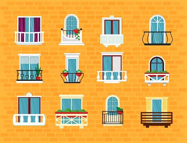 Conjunto de janela com varanda