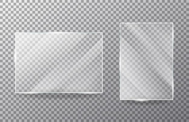 Conjunto de janela de vidro transparente realista