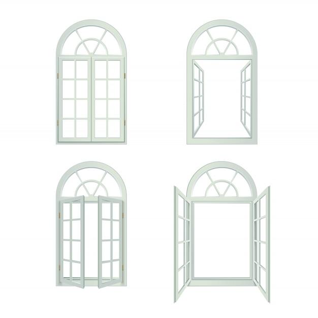 Conjunto de janelas arqueadas realistas