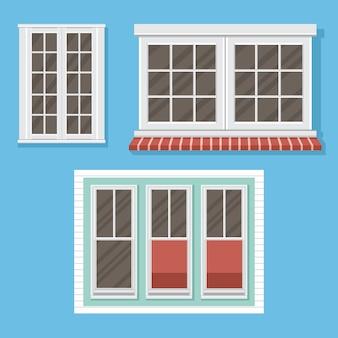 Conjunto de janelas brancas com ilustração de peitoris de janela