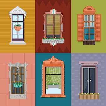 Conjunto de janelas coloridas