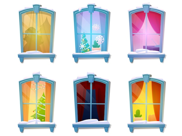 Conjunto de janelas de desenho animado com neve