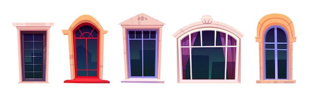 Conjunto de janelas de desenho animado, vidros vintage com moldura de pedra, peitoril da janela e cortinas dentro
