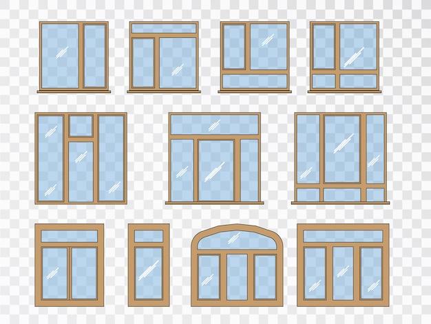 Conjunto de janelas de diferentes tipos. coleção de elementos de arquitetura clássica