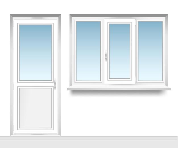 Conjunto de janelas de metaloplástico transparentes com uma porta de varanda de plástico