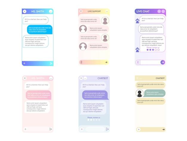 Conjunto de janelas do chatbot. modo leve em cor pastel. interface do usuário do aplicativo com diálogo online. conversa com um assistente de robô