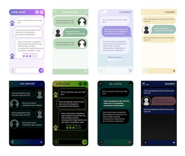 Conjunto de janelas do chatbot. noite escura e modo claro. interface do usuário do aplicativo com diálogo online. conversa com um assistente de robô