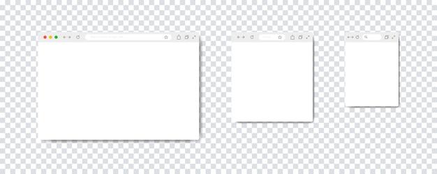 Conjunto de janelas do navegador da web