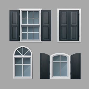 Conjunto de janelas fechadas e abertas com venezianas de madeira cinza