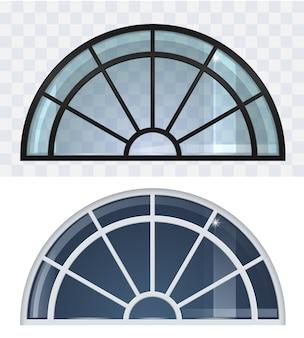 Conjunto de janelas grandes com telhado arqueado em preto e branco.