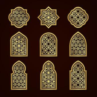 Conjunto de janelas ornamentais árabes de ouro
