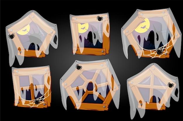 Conjunto de janelas quebradas velhas diferentes com aranhas e lua com morcegos.