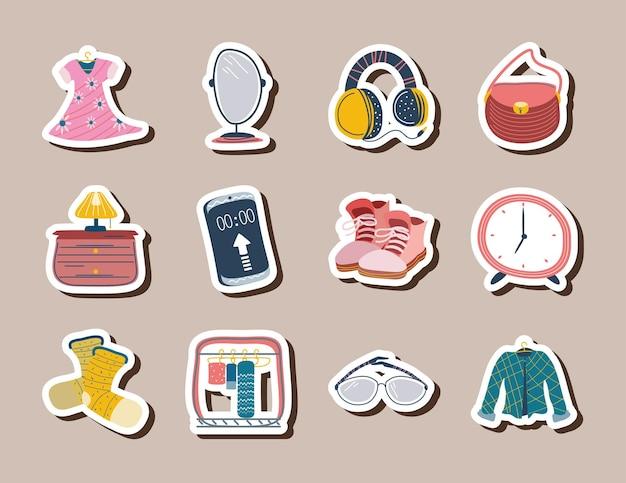 Conjunto de jaqueta de adesivos diários