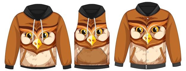 Conjunto de jaquetas diferentes com modelo de rosto de coruja