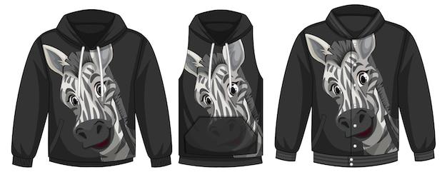 Conjunto de jaquetas diferentes com modelo de zebra