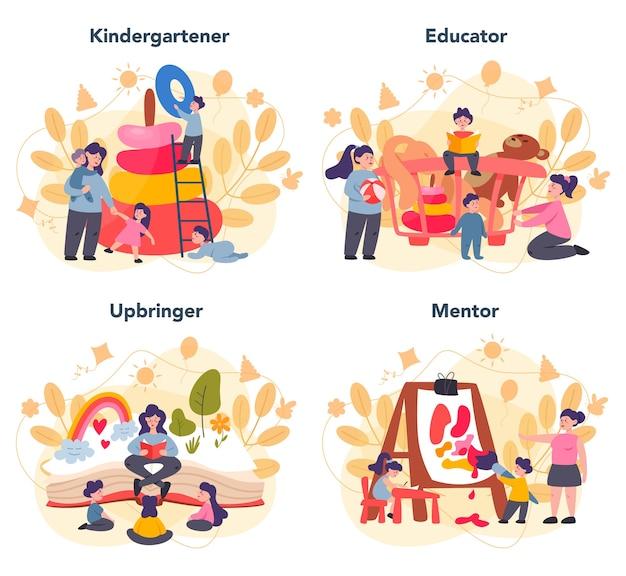 Conjunto de jardim de infância em design plano