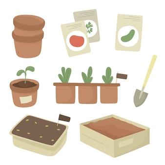 Conjunto de jardim para plantações de primavera, mudas, vasos, sementes. ilustração vetorial.