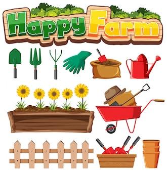 Conjunto de jardinagem com plantas e ferramentas de jardinagem em fundo branco