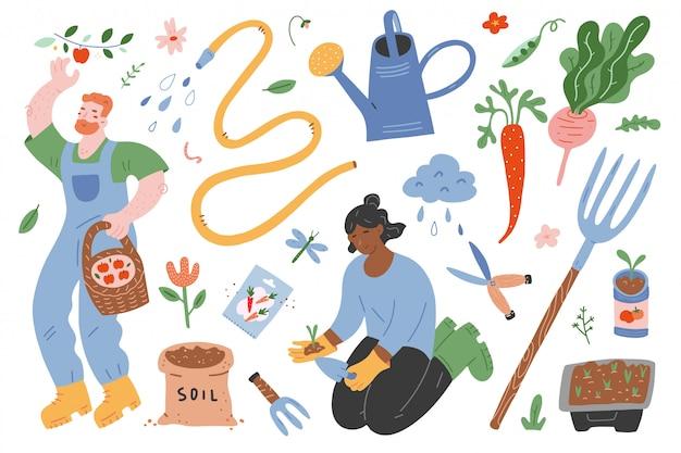 Conjunto de jardinagem de ilustrações, pessoas que trabalham e ferramentas