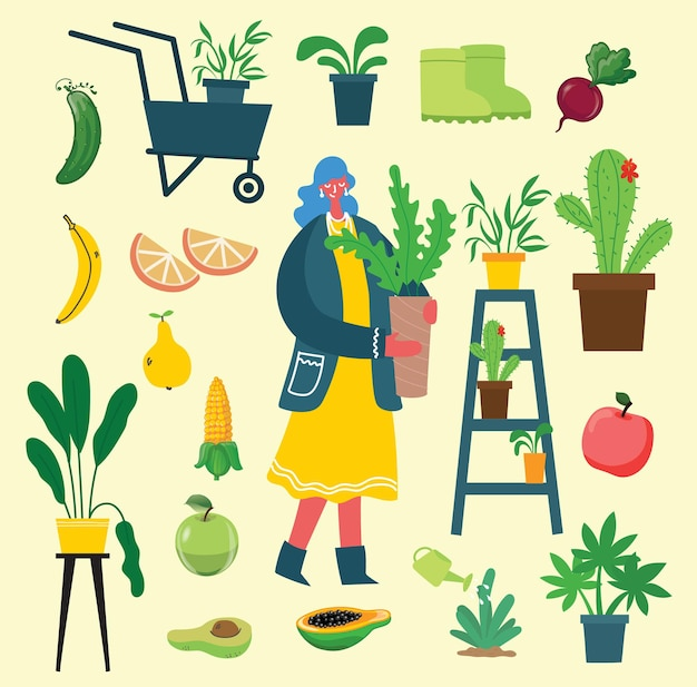 Conjunto de jardinagem de verão de pessoas de ilustrações desenhadas de mão plana de pessoas fazendo trabalho de jardim wat ...