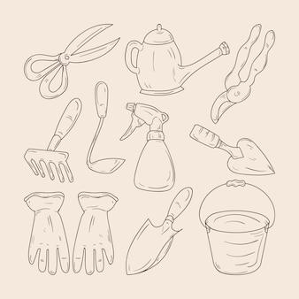 Conjunto de jardinagem desenhada à mão