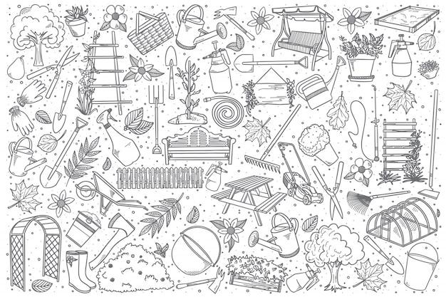 Conjunto de jardinagem desenhado à mão